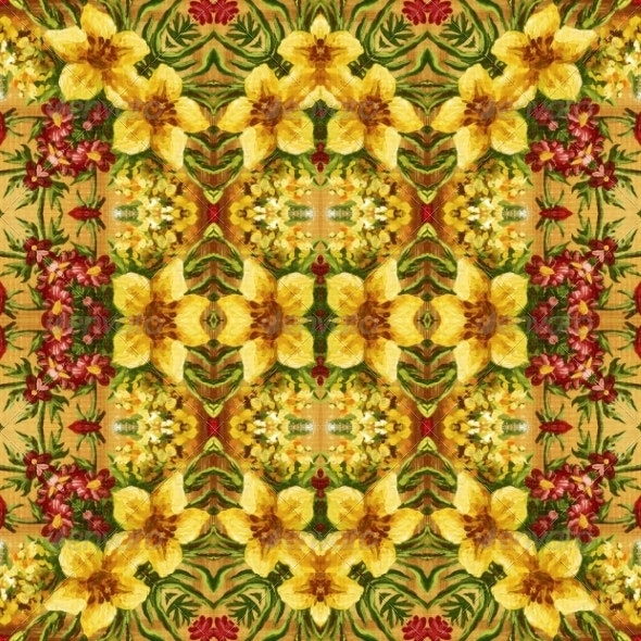 Seamless Floral Pattern, Oil Painting - Patterns Decorative