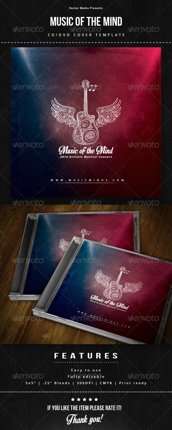 Music of The Mind - Cd Cover - CD & DVD Artwork Print Templates
