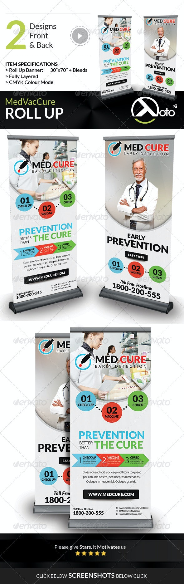 Med Vac Cure Health Care Roll Up Banners