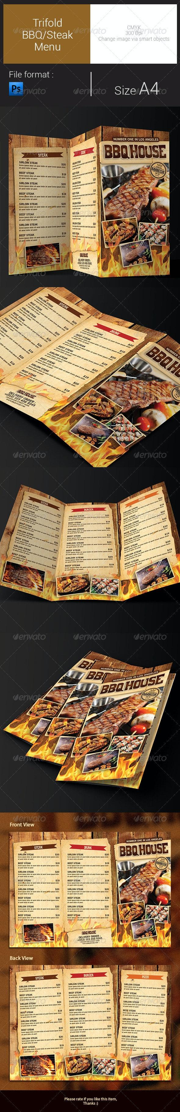 Trifold BBQ/Steak Menu - Food Menus Print Templates