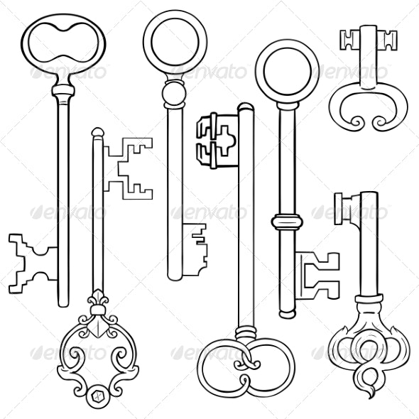 Vector Set of Lineart Antique Keys - Man-made Objects Objects