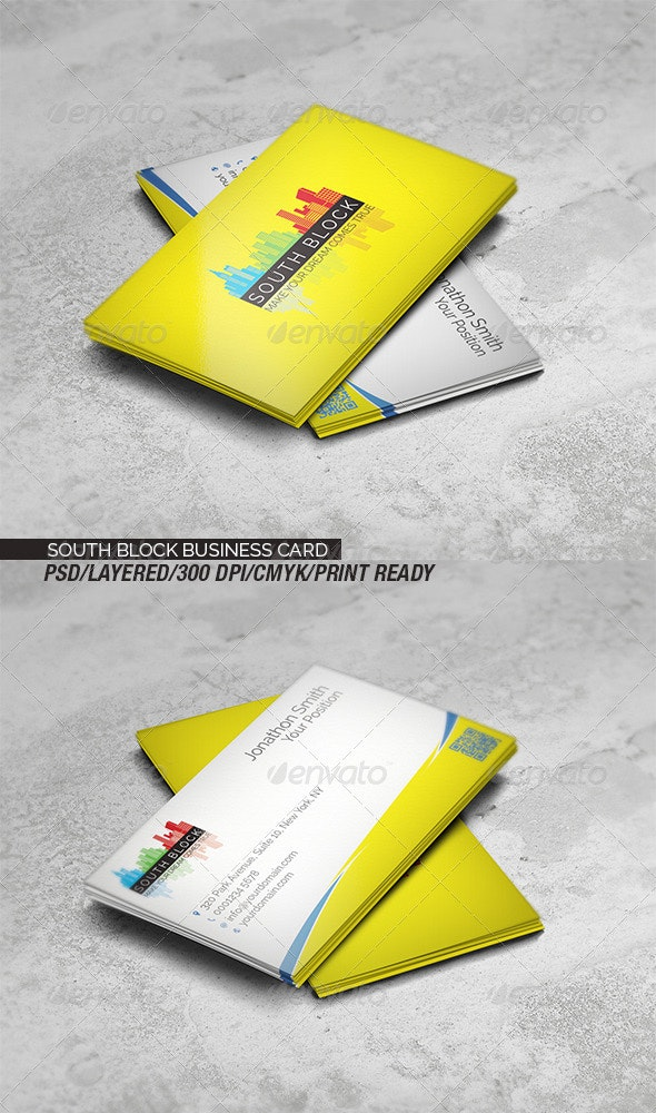 South Block Business Card - Corporate Business Cards