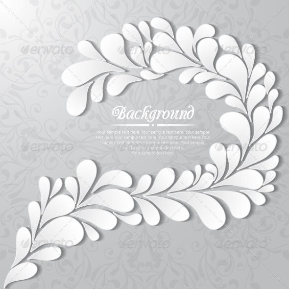 Abstract Floral Background with Drops and Leaves - Backgrounds Decorative