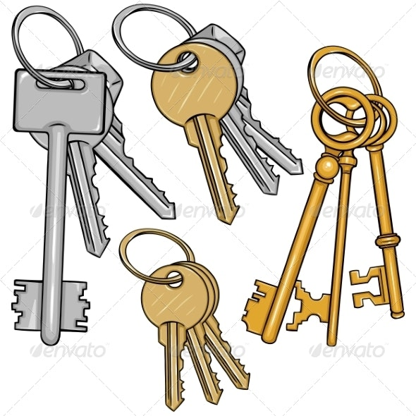 Vector Set Cartoon Bunches of Keys - Man-made Objects Objects