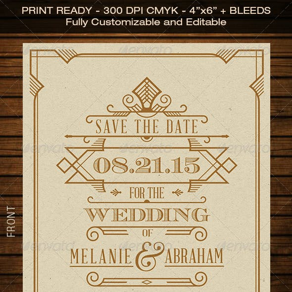 Wedding Save the Date Post Card - Art Deco 04