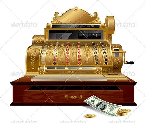 Vintage Cash Register - Objects Vectors