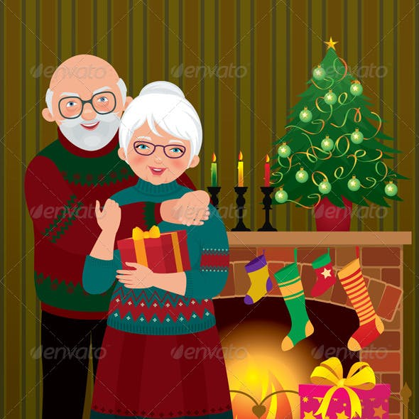 An Elderly Couple at the Fireplace on Christmas