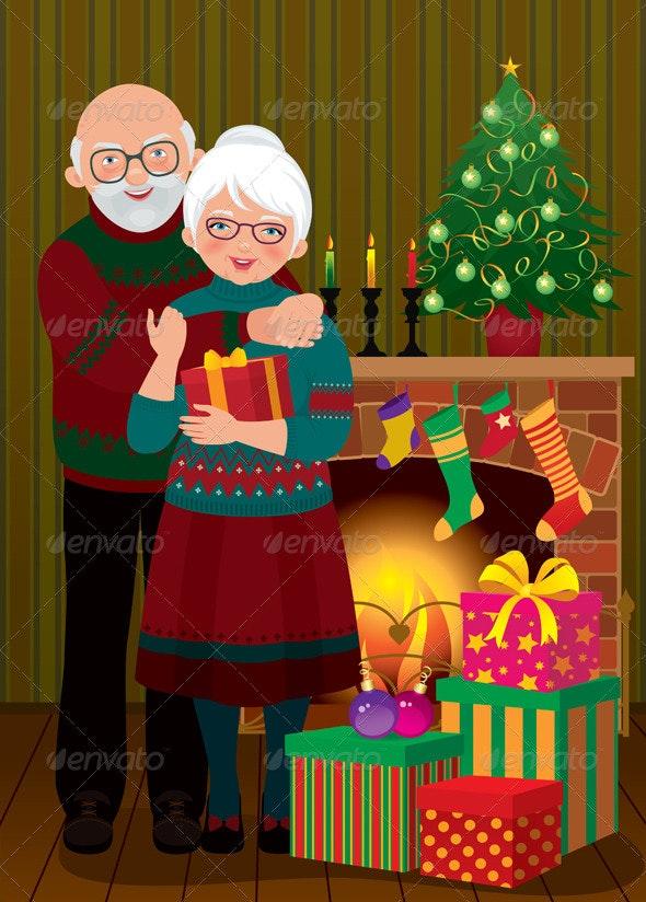 An Elderly Couple at the Fireplace on Christmas - Christmas Seasons/Holidays