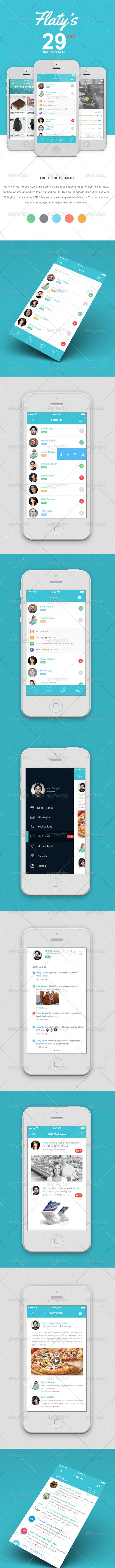 Flat Mobile App UI Design - User Interfaces Web Elements