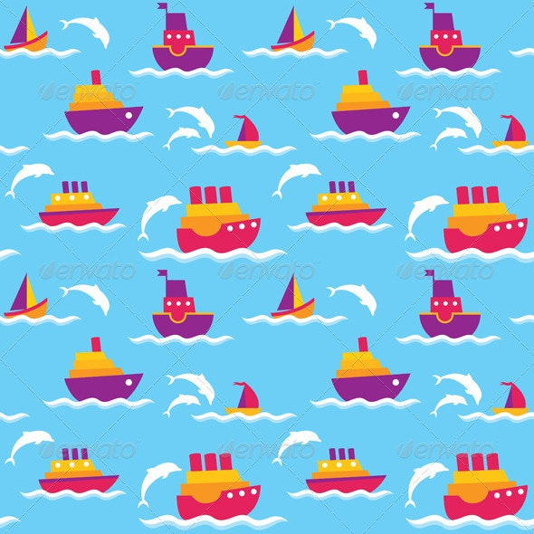 Background with Boats - Patterns Decorative