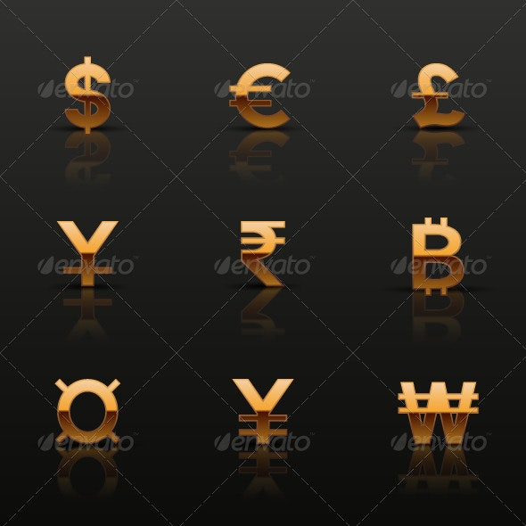 Golden Currency Icons Set - Business Icons
