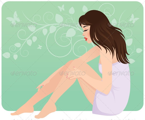 Woman on Floral Background - People Characters