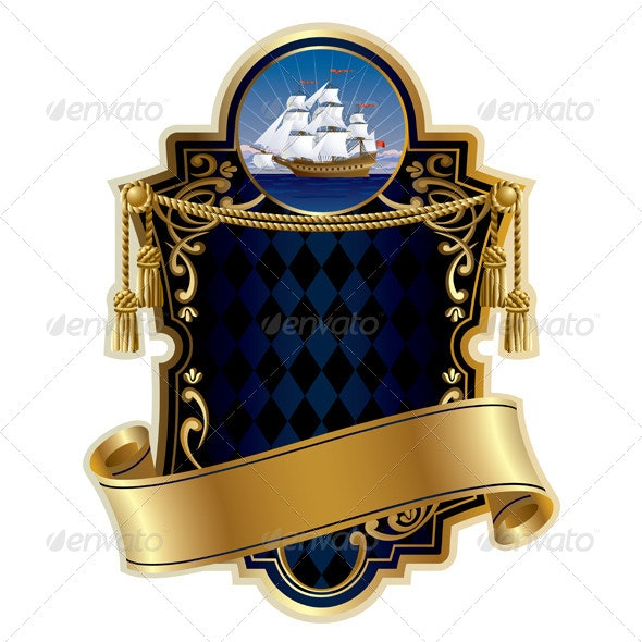 Gold-Framed Label with a Ship - Backgrounds Decorative