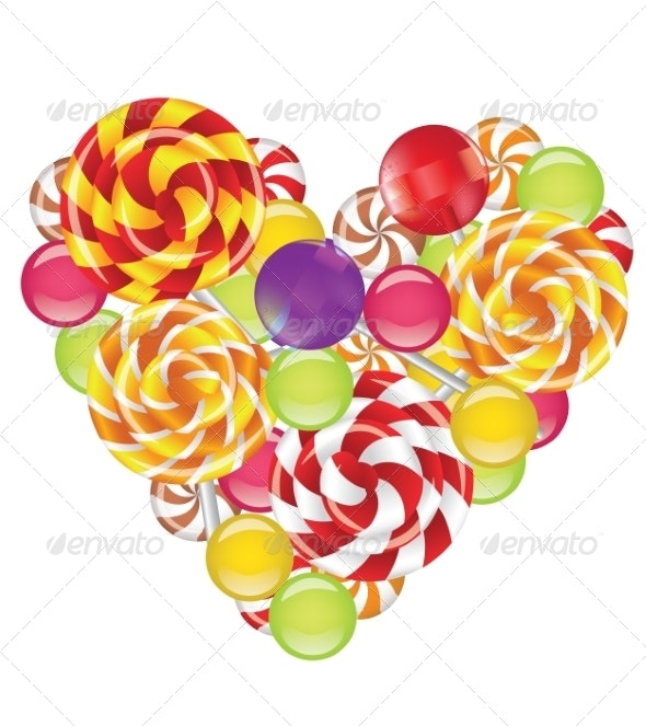 Candies in Shape of Heart - Food Objects