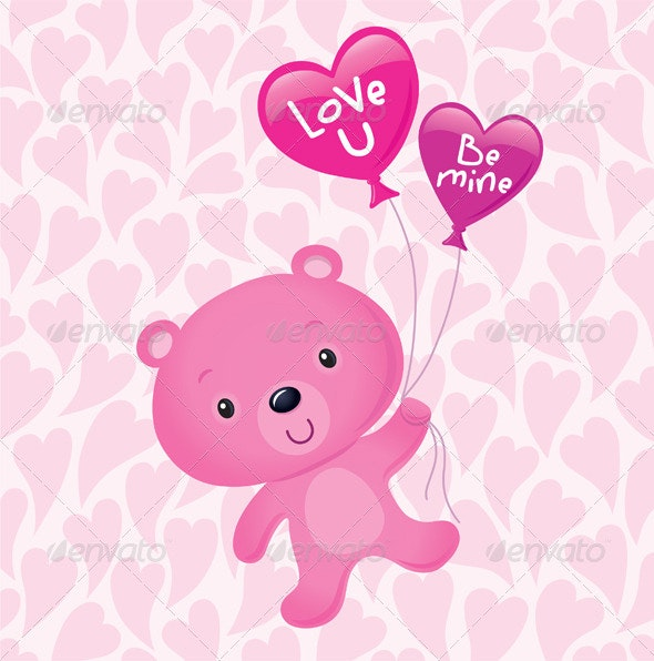 Cute Pink Bear Floating with Balloons - Valentines Seasons/Holidays