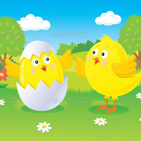 Easter Chick Hatching Scene