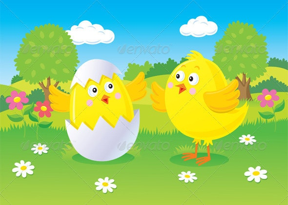 Easter Chick Hatching Scene - Seasons/Holidays Conceptual