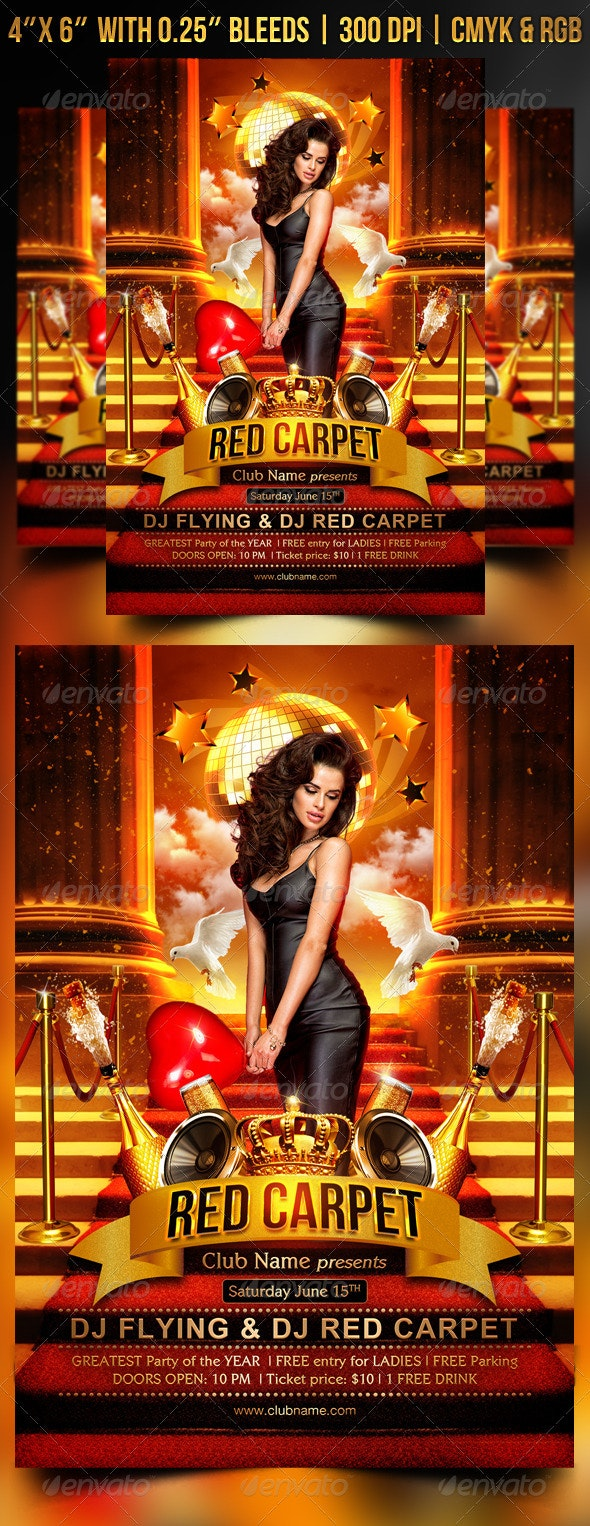 Red Carpet Flyer Template - Clubs & Parties Events