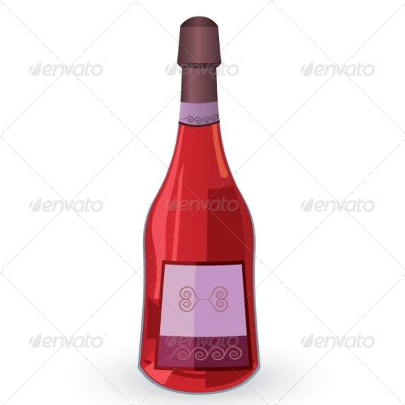 Bottle with Pink Wine Vector Illustration - Miscellaneous Conceptual