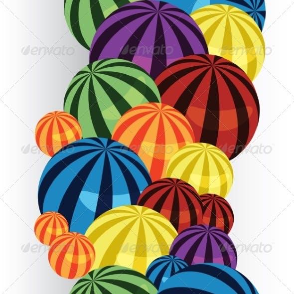 Colorful Balls Border Vertical