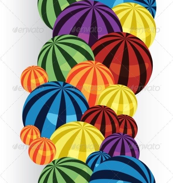 Colorful Balls Border Vertical - Borders Decorative