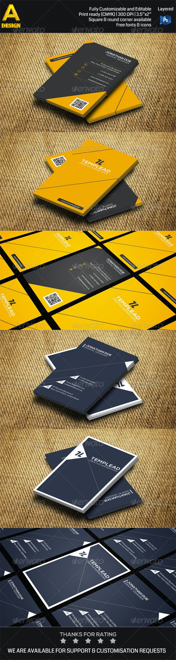 2 in 1 Minimal Business Card Bundle ANB0029 - Creative Business Cards