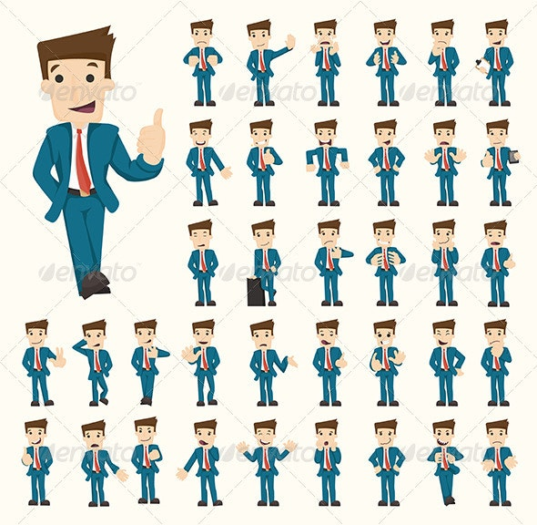 Set of Businessman Characters Poses - Concepts Business