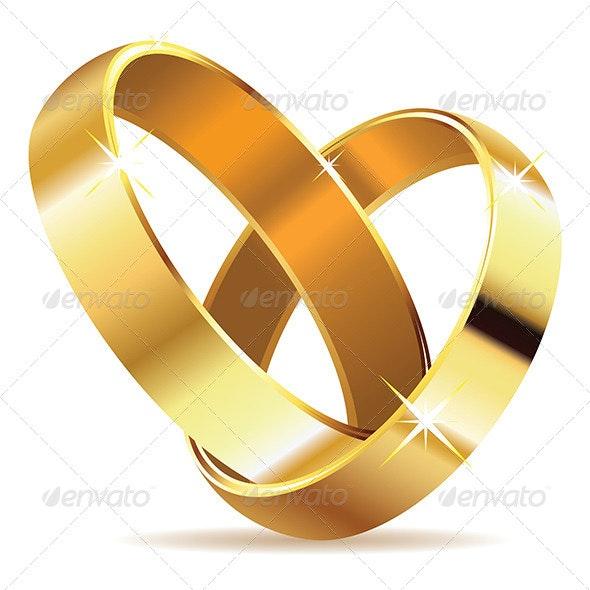Golden Wedding Rings - Objects Vectors