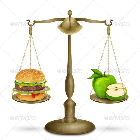 Hamburger and Apple on Scales - Food Objects