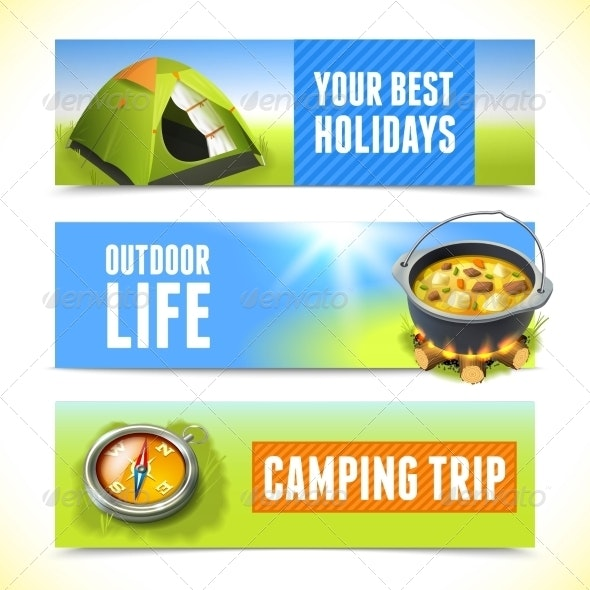 Camping Horizontal Banners - Travel Conceptual