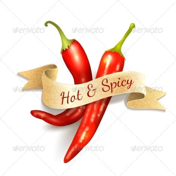 Chili Pepper Ribbon Badge - Food Objects