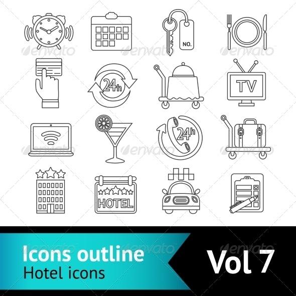 Hotel Icons Set - Web Elements Vectors
