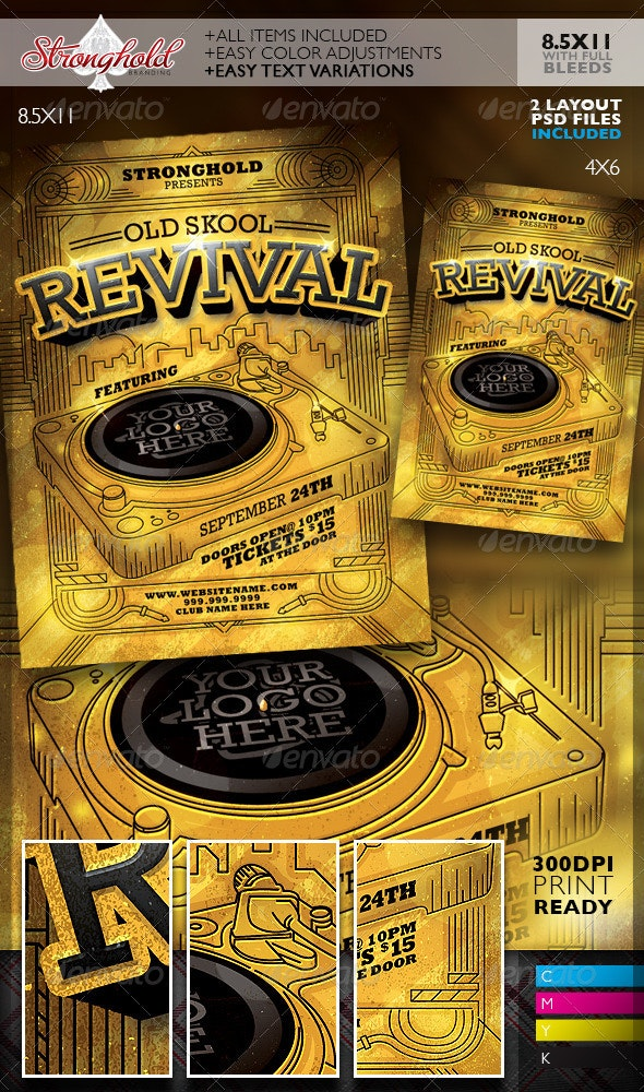 Oldschool Revival DJ Event Flyer Template - Clubs & Parties Events