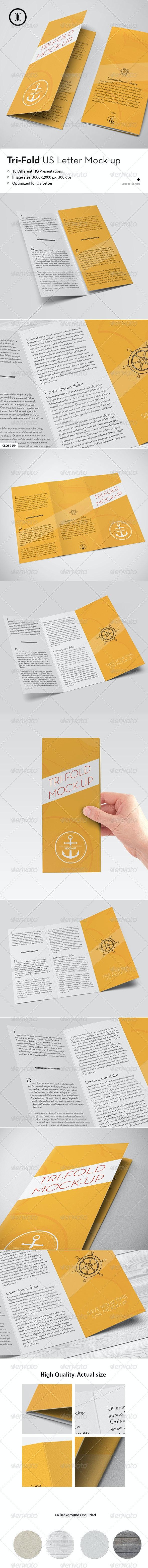 Tri-Fold Brochure Mockup / US Standard - Brochures Print