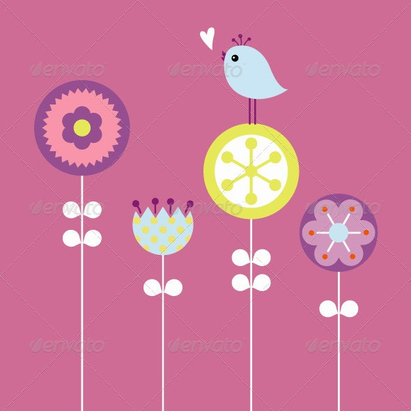 Bird And Flower - Animals Characters
