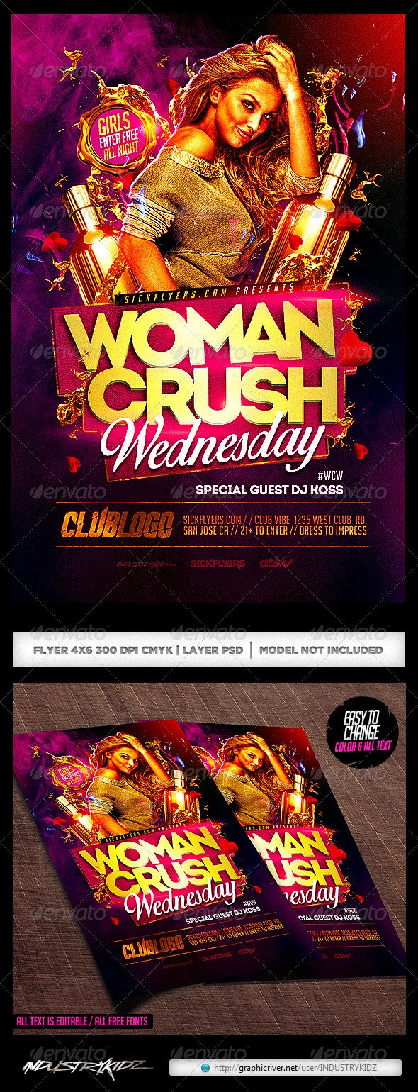 Women Crush Wednesdays Flyer Template  - Clubs & Parties Events