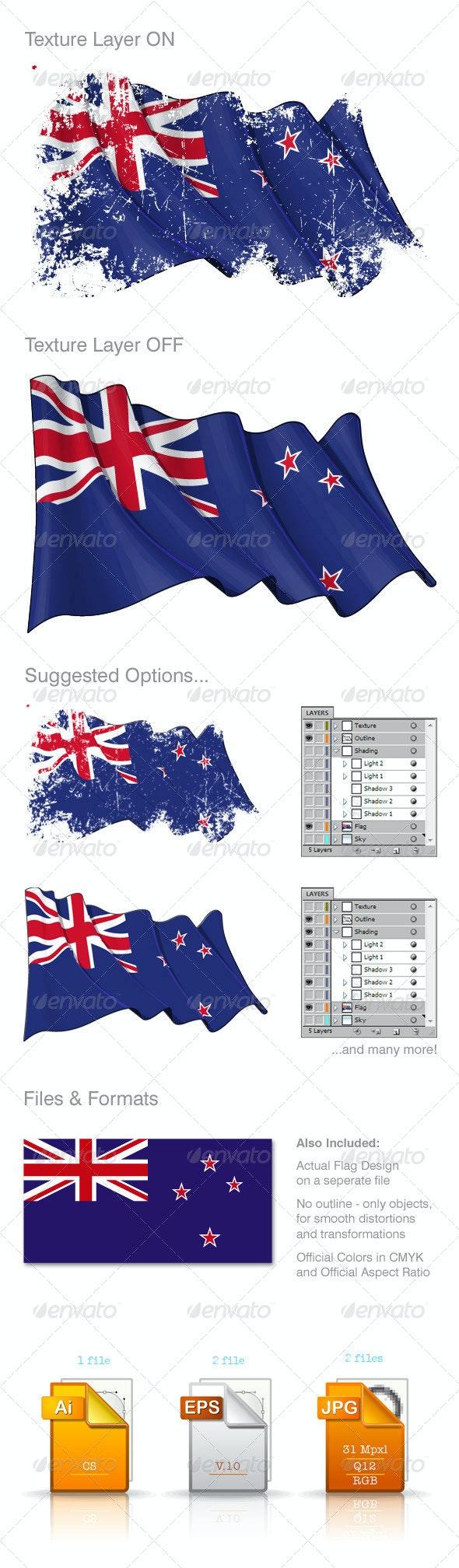 New Zealand Flag Grunge - Backgrounds Decorative