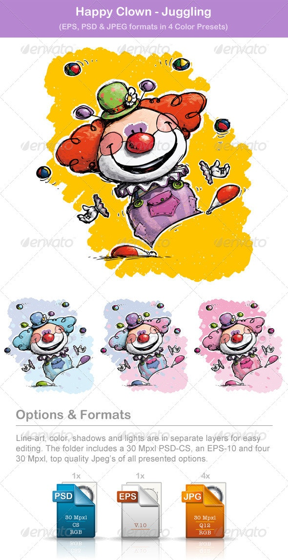 Happy Clown - Juggling - Backgrounds Decorative