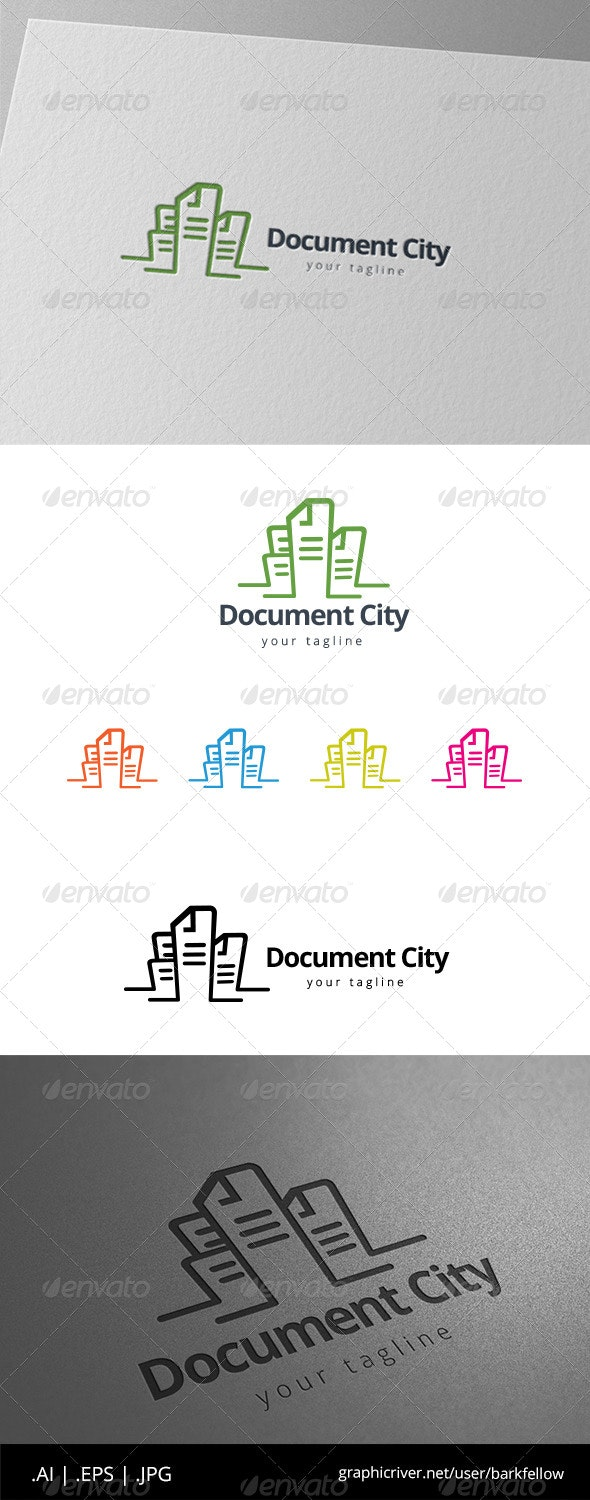 Paper Document City Tower Building Logo - Buildings Logo Templates