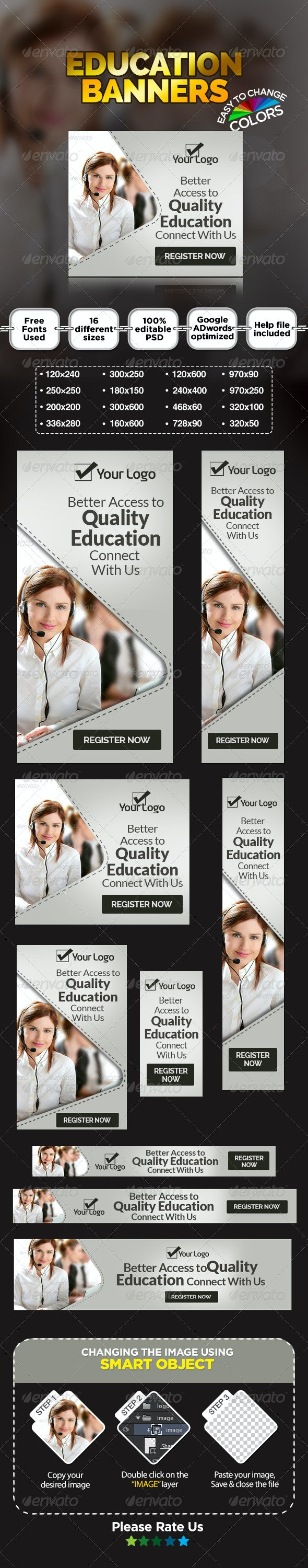 Online Education Banners - Banners & Ads Web Elements