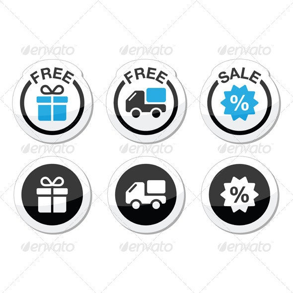 Free Gift, Free Delivery, Sale Labels Set - Abstract Conceptual