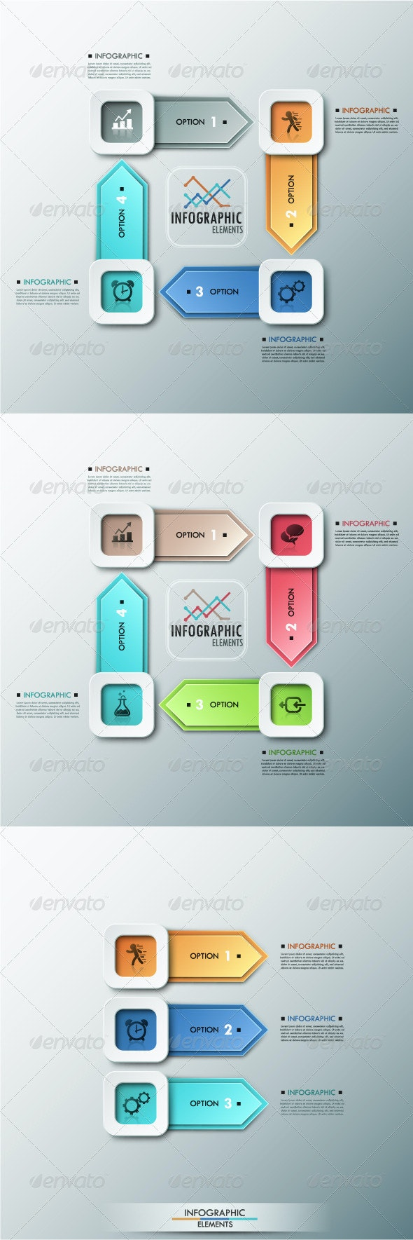 Modern Infographic Options Banner (3 Items) - Infographics