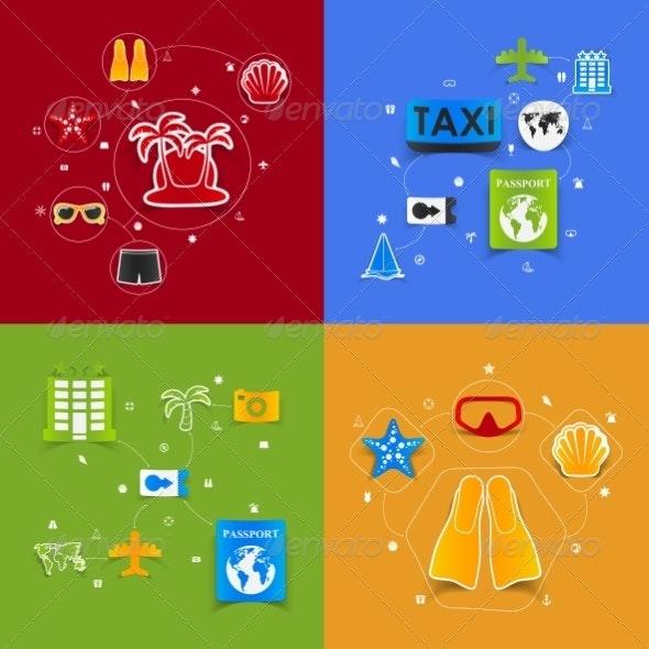 Set of Summer Tourism Icons - Decorative Symbols Decorative
