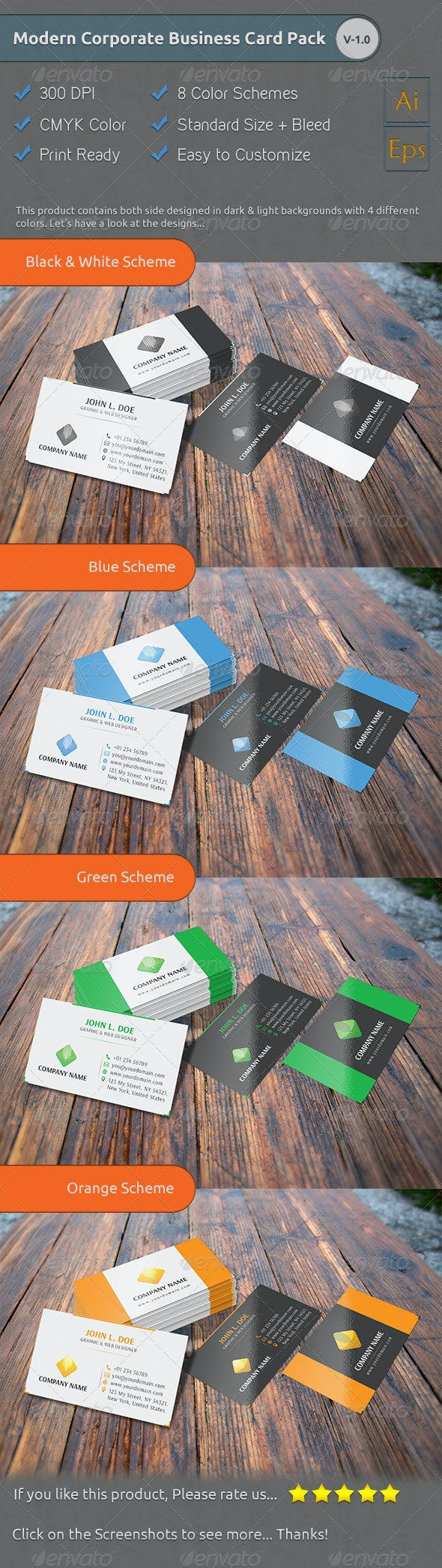 Modern Corporate Business Card Pack [V-1.0] - Corporate Business Cards