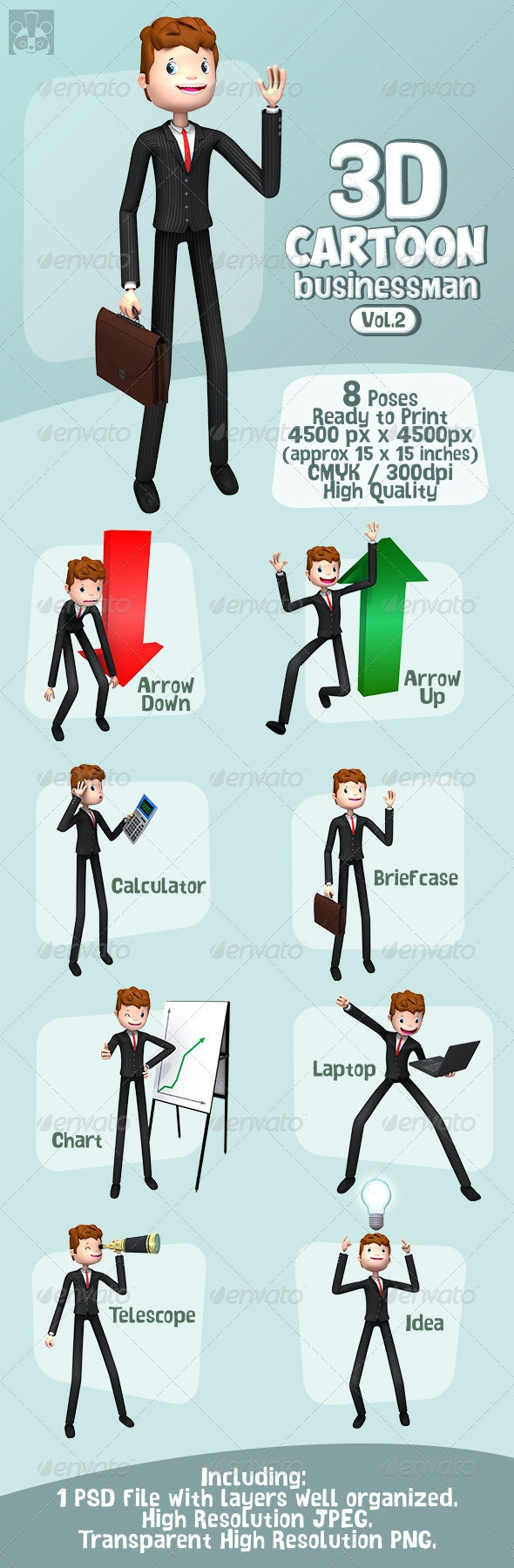 3d Cartoon Businessman Vol. 2 - Characters 3D Renders