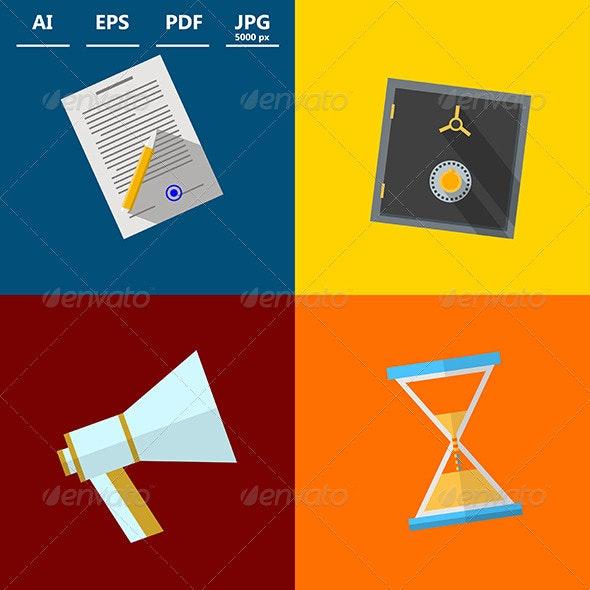 Square Icons for Outsource - Web Elements Vectors