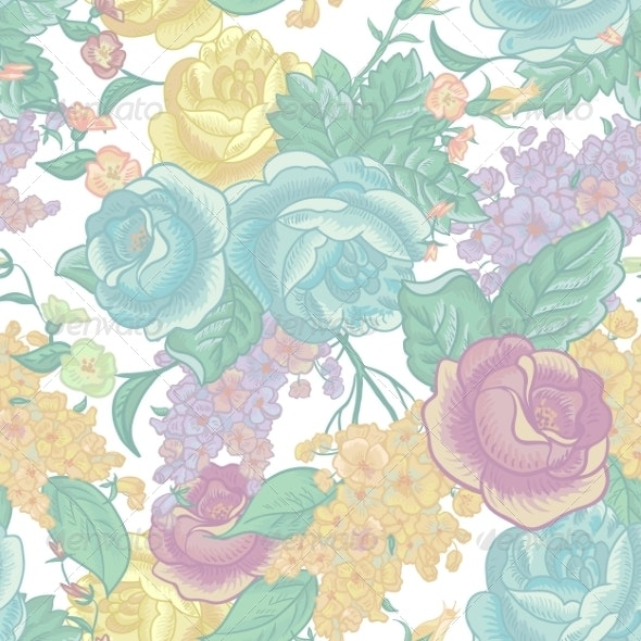 Seamless Background with Bouquets of Wildflowers - Patterns Decorative