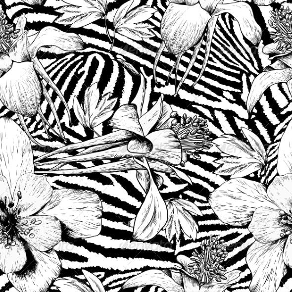 Monochrome Seamless Vintage Flower Pattern - Patterns Decorative