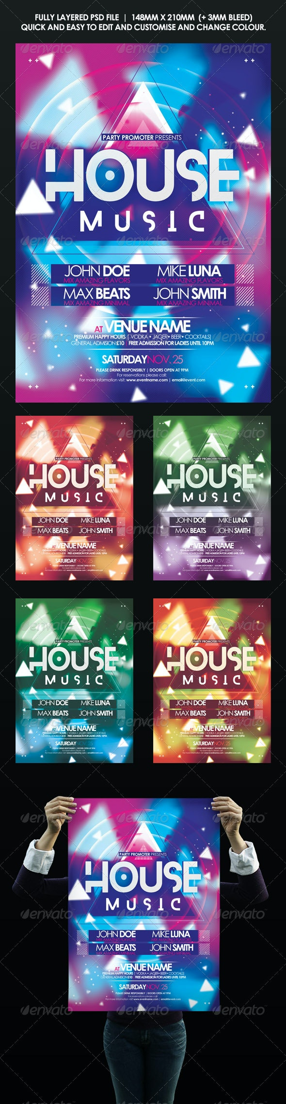 House Music Event Flyer | Poster - Clubs & Parties Events