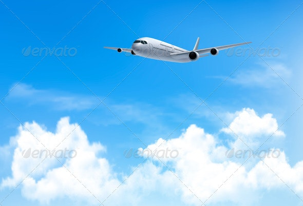 Travel Background with an Airplane and Clouds - Travel Conceptual